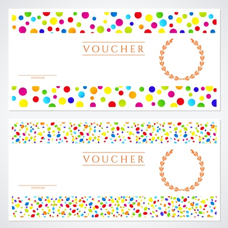 Voucher (Gift certificate) template with colorful (bright, rainbow) abstract background design.