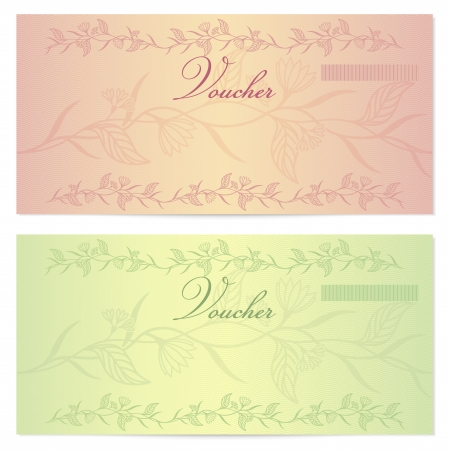 tickets: Gift certificate, Voucher, Coupon template (layout) with floral pattern (watermark), border.