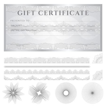 cheque en blanco: Certificado de regalo, vale, plantilla Cupón (layout) con líneas entrecruzadas (marcas de agua), en la frontera. Vectores