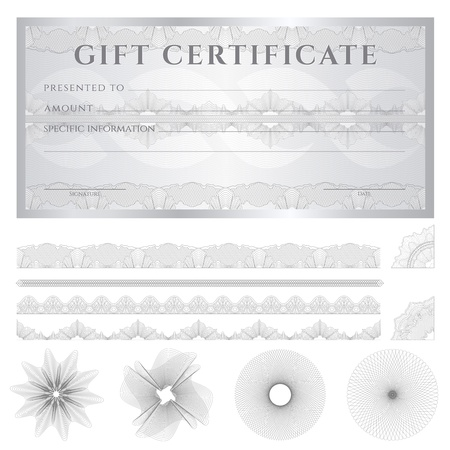 check: Gift certificate, Voucher, Coupon template (layout) with guilloche pattern (watermarks), border.