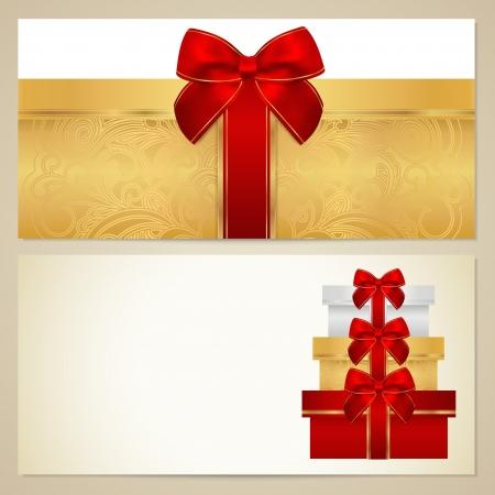 burgundy ribbon: Voucher (Buono Regalo, Coupon) modello con presente (caselle), fiocco (nastri). Vettoriali