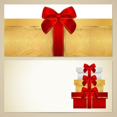 Voucher (Gift certificate, Coupon) template with present (boxes), bow (ribbons). Vector