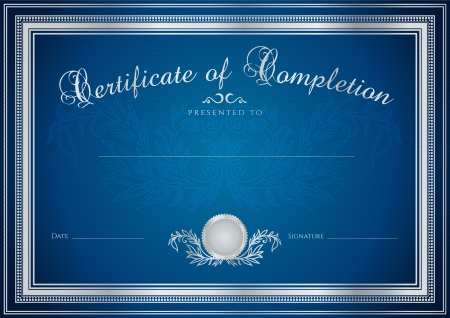 certificate: Dark blue Certificate, Diploma of completion (design template, sample background) with floral pattern (watermarks), border. Useful for: Certificate of Achievement, Certificate of education, awards Illustration