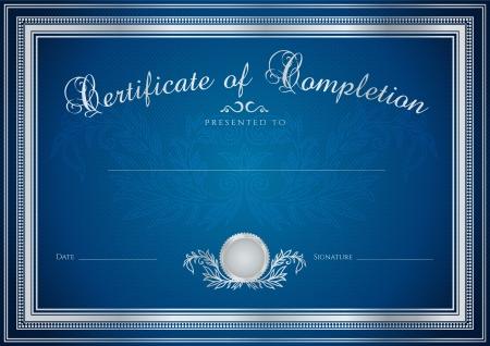 Donkerblauw Certificaat, Diploma van voltooiing (ontwerp sjabloon, monster achtergrond) met bloemmotief (watermerken), grens. Nuttig voor: Certificaat van Voltooiing, Certificaat van onderwijs, awards