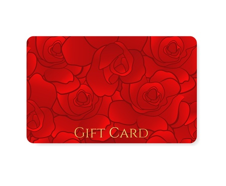 Gift card, Business card, Discount card template (layout) with floral pattern, red rose, stylized flower. Background design usable for gift coupon, voucher, invitation, ticket etc. Vector Vector