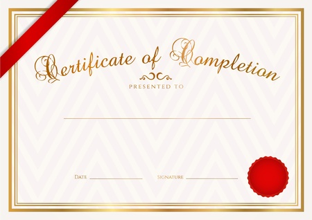 certificate template: Certificate, Diploma of completion  design template, sample background  with abstract pattern, gold border, ribbon, wax seal  Useful for  Certificate of Achievement, Certificate of education, awards