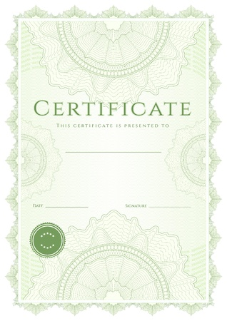 Green Certificate of completion  template Vector