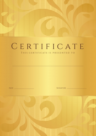 Certificate of completion  template or sample background  with golden floral pattern  swirl Vector
