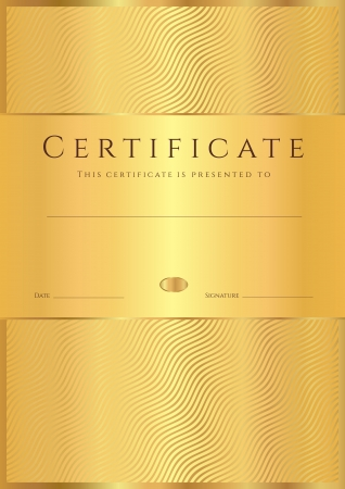 vertical lines: Certificate of completion  template or sample background  with golden wave lines pattern  Gold Design for diploma, invitation, gift voucher, ticket, awards  Vector