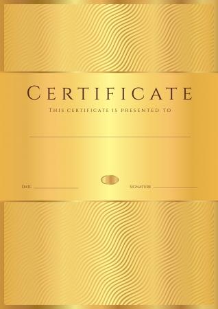 dersleri: Tamamlama şablon veya diploma, davetiye, hediye çeki, bilet, ödül Vector için altın dalga hat model altın Tasarımı ile örnek arka Sertifikası