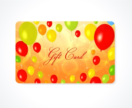 Bright Gift   Discount    Business card template  layout  with colorful balloons  yellow, red, green, orange colors  background Stock Vector - 20848158
