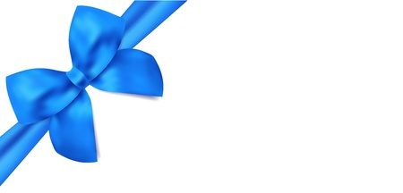 gift packs: Gift certificate   voucher template with isolated blue bow  ribbons