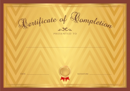 Certificate   Diploma of completion  design template   gold background  with abstract pattern, brown border  frame , insignia  Useful for  Certificate of Achievement, Certificate of education, awards Vector
