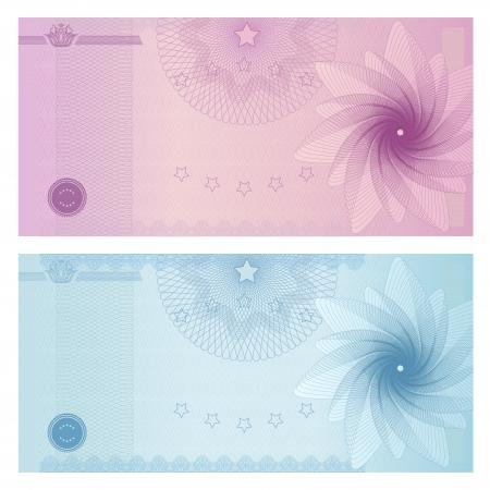 Cadeaubon, voucher, coupon sjabloon met guillochepatroon watermerk, grens Achtergrond voor bankbiljetten, geld ontwerp, munt, noot, check check, ticket, beloning blauwe, paarse kleur