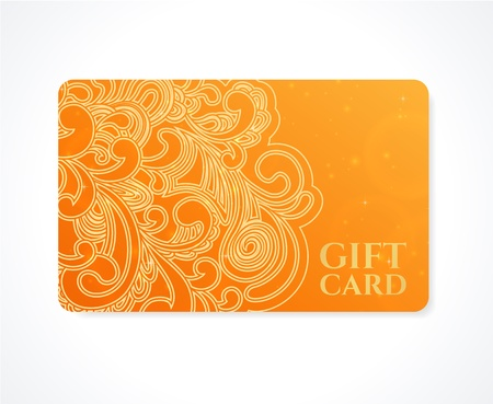 Bright Orange Gift card, Business card, Discount card template with floral  scroll, swirl shape  pattern  Design for discount card, invitation, ticket  Vector
