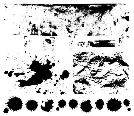 threadbare: Nero graffiato, sfondo sgualcito spruzzi, blob, spruzzi, macchie, simbolo, macchia, spruzzata isolato macchia Grunge texture con macchie di vernice, Silhouette sporca di macchie Vettoriali