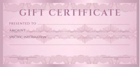cheque en blanco: Certificado de regalo, vale, plantilla de diseño promocional con marcas de agua, fondo de líneas entrecruzadas frontera para el billete, diseño de dinero, moneda, billete, compruebe cheque, ticket, Vector recompensa Vectores