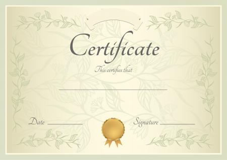 completion: Certificado de finalizaci�n de plantilla o de fondo de la muestra con el patr�n floral, marco verde y oro medalla insignia Dise�o de diploma, invitaci�n, bono de regalo, cupones o premios ganador Vector