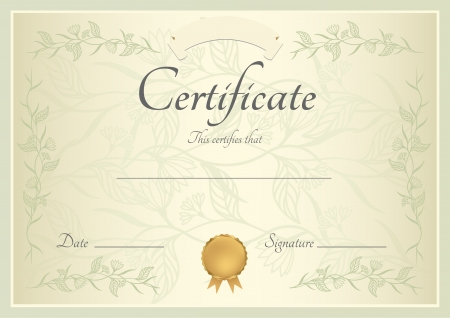 completion: Certificate of completion  template or sample background  with floral pattern, green frame and gold medal  insignia   Design for diploma, invitation, gift voucher, coupon or awards  winner   Vector