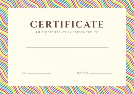 licenciatura: Certificado de finalización de plantilla o de fondo muestra con colores brillantes, arco iris líneas de onda patrón de diseño de la frontera para diploma, invitación, tarjeta de regalo, entradas, premios Vector Vectores