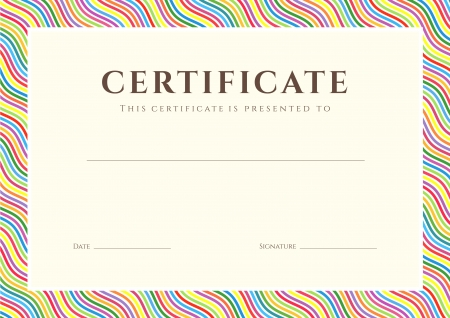 Certificate of completion  template or sample background  with colorful  bright, rainbow  wave lines pattern  border   Design for diploma, invitation, gift voucher, ticket, awards  Vector
