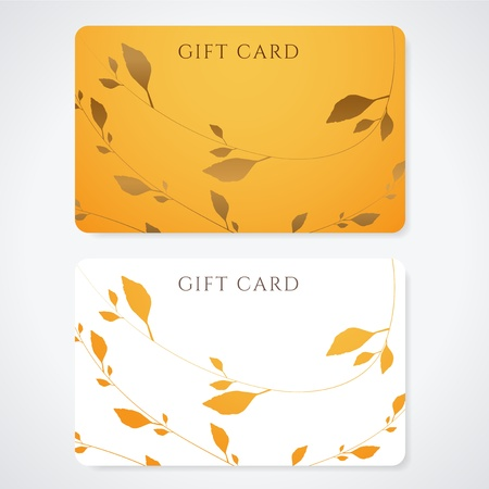 discount card: Gift card  discount card, business card  with floral pattern   Background design usable for gift coupon, voucher, invitation, ticket etc  Illustration