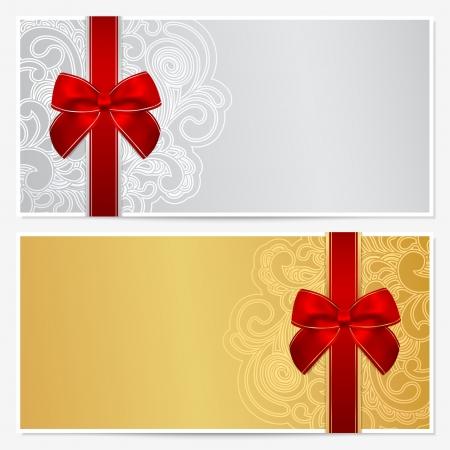 cheque en blanco: Vale, vale, plantilla de Cupón con la frontera, marco, cintas arco
