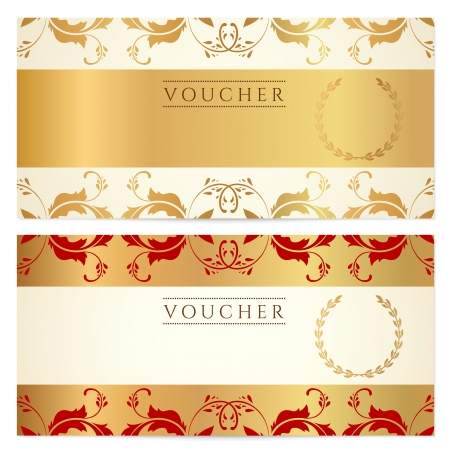maroon: Voucher, Gift certificate, Coupon template with floral border