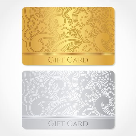 discount card: Silver and gold gift card  discount card, business card  with floral  scroll, swirl  pattern  tracery   Background design for gift coupon, voucher, invitation, ticket etc  Illustration