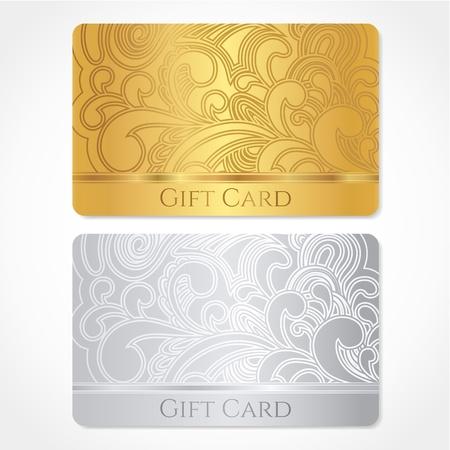 Zilver en goud gift card kortingskaart, visitekaartje met bloemenrol, swirl patroon maaswerk Achtergrond ontwerp voor cadeaubon, voucher, uitnodiging, kaartjes enz.
