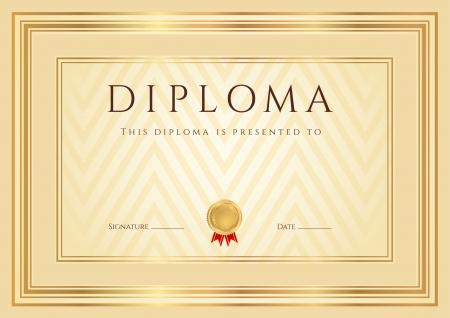 plantilla: Certificado, Diploma de finalización plantilla de diseño, fondo con patrón abstracto, marco de oro frontera, insignia Útil para Certificado de Aprovechamiento, Certificado de la educación, los premios