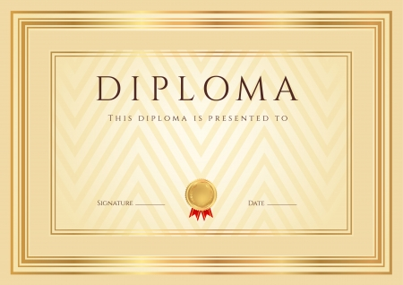 Certificate, Diploma of completion  design template, background  with abstract pattern, gold border  frame , insignia  Useful for  Certificate of Achievement, Certificate of education, awards Çizim