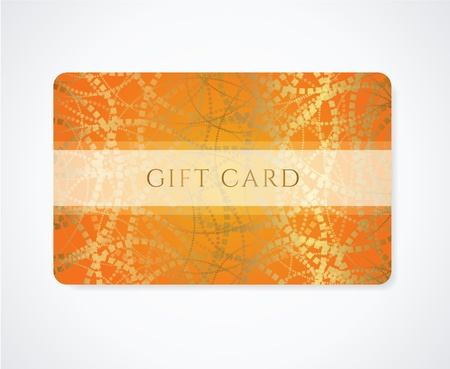 gift background: Bright Orange Gift card, Business card, Discount card template with abstract golden pattern and frame  Design for discount card, invitation, ticket