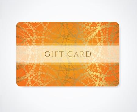 Helder Oranje Gift card, visitekaartje, Kortingskaart sjabloon met abstracte gouden patroon en frame ontwerp voor de kortingskaart, uitnodiging, ticket
