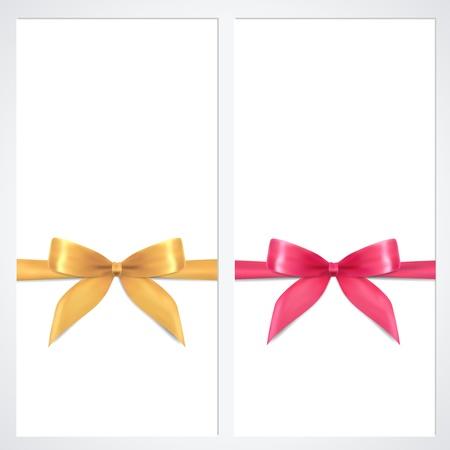 moño rosa: Vale, vale, plantilla Cupón con las cintas del arco, presente diseño de fondo para la invitación, billete de banco, bandera del vector de oro, los colores rosados Vectores