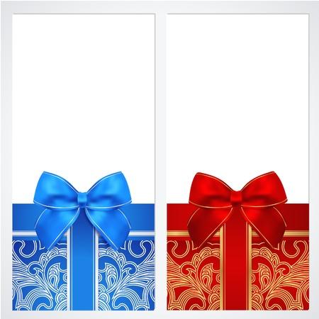 Buono, buono regalo, Coupon template wVoucher, Buono regalo, modello Coupon con nastri arco, presente Disegno di sfondo per l'invito, banconote, ettore in rosso, colori blu Vettoriali