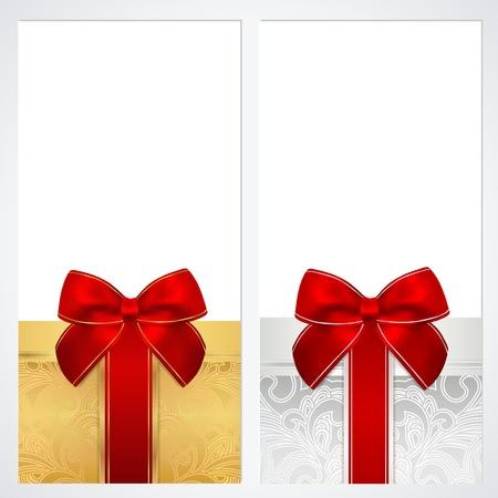 burgundy ribbon: Buono, Buono regalo, modello Coupon con fiocco nastri Disegno di sfondo per l'invito, banconote, disegno soldi, valuta, controlla Vector controllo nei colori oro, argento