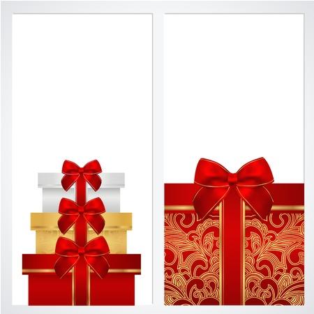 burgundy ribbon: Buono, Buono regalo, modello Coupon con bordo, cornice, nastri arco, presente disegno di sfondo per l'invito, vettore della bandiera di colore rosso, colori oro Vettoriali