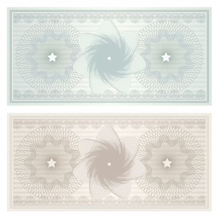 watermark: Gift certificate, Voucher, Coupon template with guilloche pattern  watermark , border  Background for banknote, money design, currency, note, check  cheque , ticket, reward  Vintage color  Vector Illustration