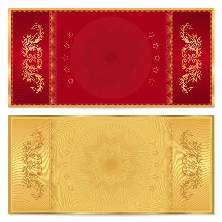 dorado: Billete de Oro, vale, vale, plantilla Cupón con un diseño de fondo frontera floral para la invitación, billete de banco, el diseño de dinero, divisas, check check vectorial en oro, colores marrón rojo