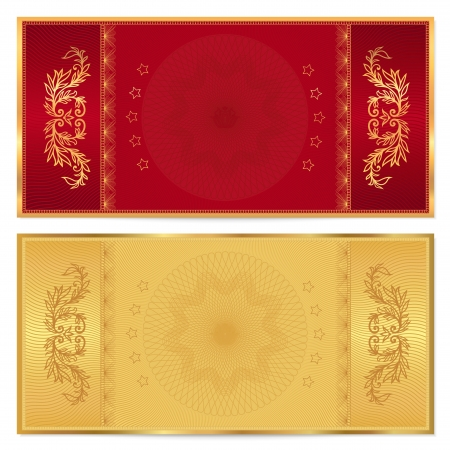 tickets: Gold ticket, Voucher, Gift certificate, Coupon template with floral border  Background design for invitation, banknote, money design, currency, check  cheque   Vector in gold, red  maroon  colors