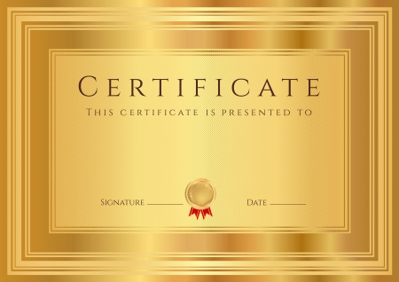 business degree: Certificate, Diploma of completion  design template, background  with abstract pattern, gold border  frame , insignia  Useful for  Certificate of Achievement, Certificate of education, awards Illustration