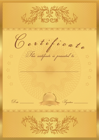 Certificate, Diploma of completion  design template, background  with floral pattern, gold border  frame , insignia  Useful for  Certificate of Achievement, Certificate of education, awards