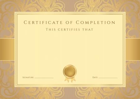 diploma: Certificado, Diploma de finalizaci�n plantilla de dise�o, fondo con patr�n abstracto, marco de oro frontera, insignia �til para Certificado de Aprovechamiento, Certificado de la educaci�n, los premios
