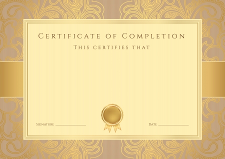 Certificate, Diploma of completion  design template, background  with abstract pattern, gold border  frame , insignia  Useful for  Certificate of Achievement, Certificate of education, awards Иллюстрация