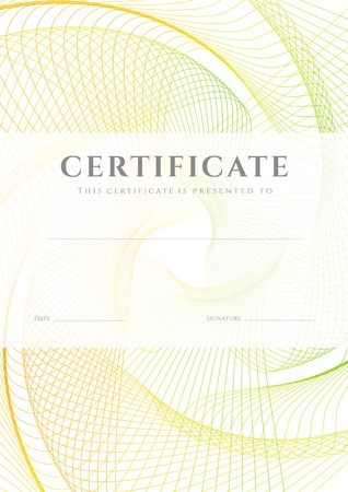 useful: Certificate, Diploma of completion  design template, background  with guilloche pattern  watermark , frame  Useful for  Certificate of Achievement, Certificate of education, awards, winner