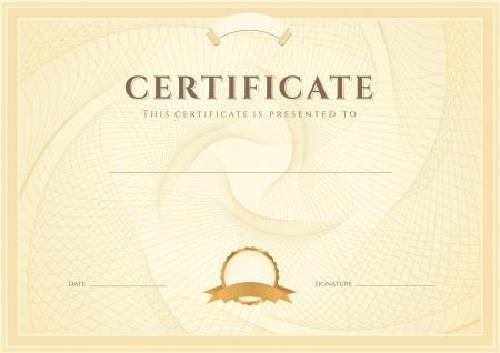 Certificaat, diploma van voltooiing ontwerpsjabloon, achtergrond met guillochepatroon watermerk, grens, frame Handig voor certificaat van voltooiing, certificaat van onderwijs, prijzen, winnaar Vector Illustratie