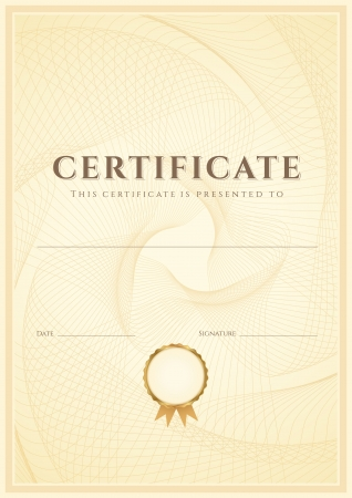 Certificate, Diploma of completion  design template, background  with guilloche pattern  watermark , border, frame  Useful for  Certificate of Achievement, Certificate of education, awards, winner Vector