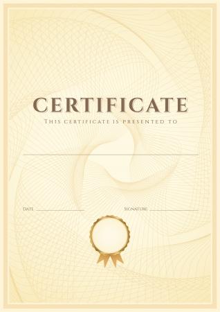 dersleri: Sertifika, tamamlama tasarım şablonu Diploma, meneviş desenli filigran, Başarı Belgesi için Faydalı sınır, çerçeve, eğitim belgesi, ödül, kazanan ile arka plan