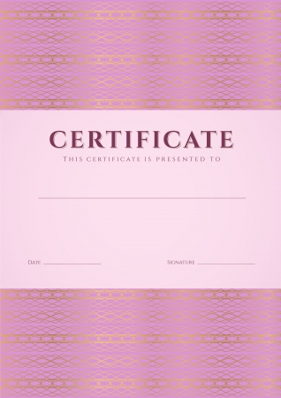 Pink Certificate, Diploma of completion  design template, background  with guilloche pattern  watermark , border, frame  Useful for  Certificate of Achievement, Certificate of education, award, winner Vector